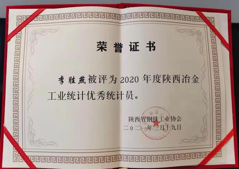 李胜燕荣获2020年度陕西冶金工业优秀统计员称号