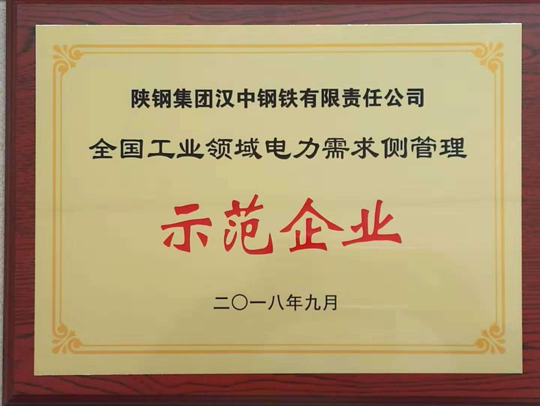 【金色荣誉】公司荣获全国工业领域电力需求侧管理第四批示范企业荣誉称号